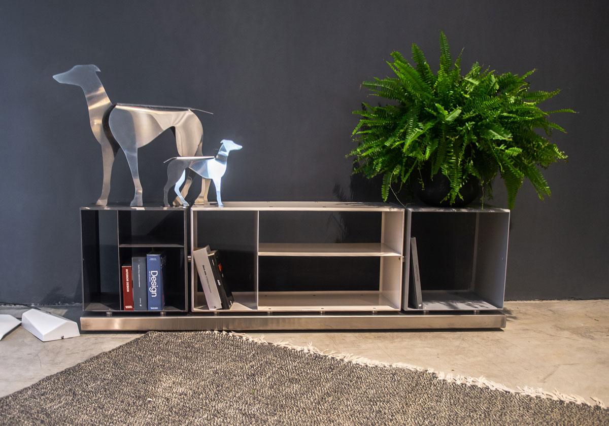 Librerie In Metallo Componibili.Libreria Credenza Componibile Ku Bi Dea Metal Design